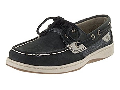 SPERRY Women's Bluefish Pin Dot Black Grey 2-Eye Nubuck Boat Shoe STS98776 (5)