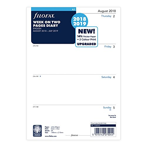 Filofax August 2018 to July 2019, A5, Academic Week to View Refill, English (C68562-19) -