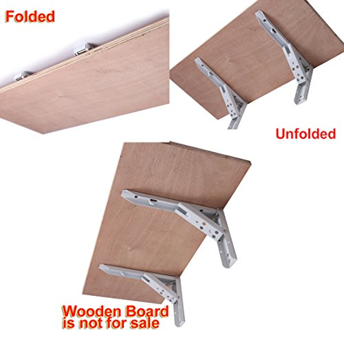 "chic 2 Pcs 90 Degree Spring Loaded Folding Support Shelf Bracket 10"" Length"