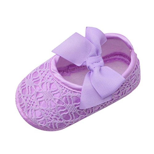 LNGRY Shoes,Toddler Kids Baby Girls Bowknot Lace Soft Sole Non-Slip Footwear Prewalker Crib Shoes (0-6 Months, Purple)