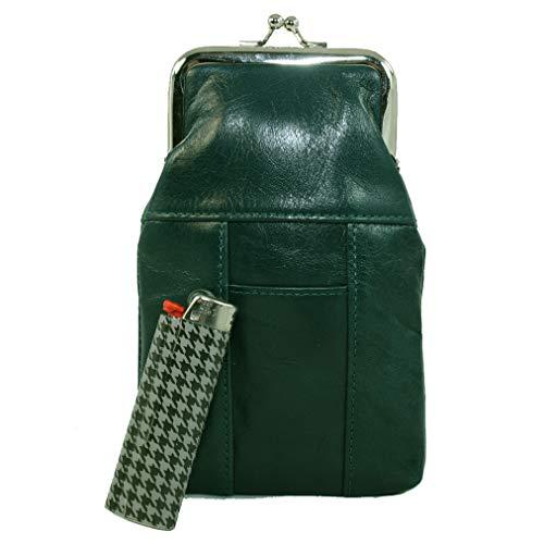 Womens Leather Cigarette Case & Lighter Holder (Dark Green)