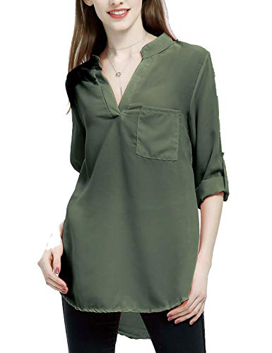 Bureau Porter Blouses De Au Tops des Travail Chemise Femmes Lache XXL Armygreen arxaqTn4