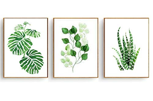 Hepix Canvas Wall Art Succulent Wall Decor 3 Pieces Tropical Palm Green Leaves Paintings Simple Wall Picture Set for Modern Home Decor Stretched and Framed Ready to Hang 13 x ()
