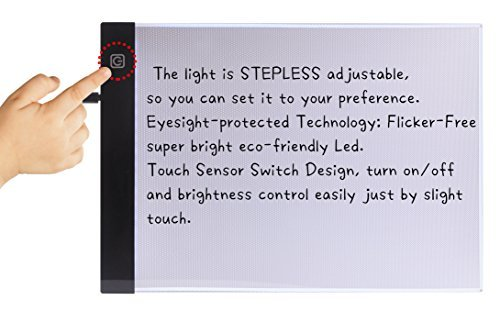 Tracing Light Box for Drawing, A4 Ultra Thin Portable LED Lightbox for Kid and Adult Artist, Stepless Adjustable Brightness w/Ruler, USB Powered Projector Kit for Sketching with 10 Tracer Paper