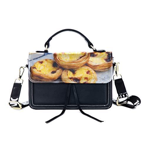 Fashion Unique Handbag Egg Tart Dessert Food Fast Food Idea Print Shoulder Bag Top Handle Tote Flap Over Satchel Purses Crossbody Bags Messenger Bags For Women Ladies ()