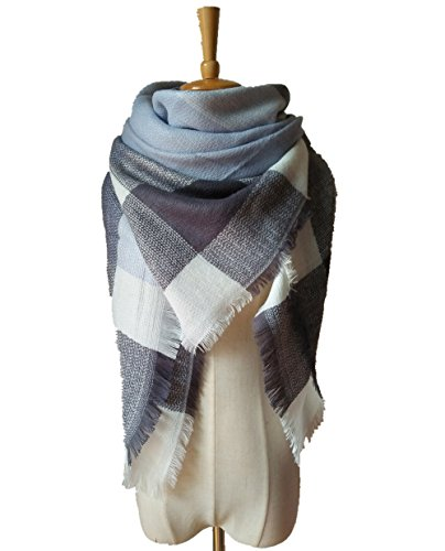 Besnli Large Striped   Checker Pattern Blanket Scarf Tartan Stylish Cape Wrap Shawl  Light Blue Grey
