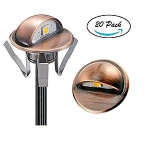 "FVTLED 20pcs Low Voltage LED Deck lights kit Φ1.38"" Outdoor Garden Yard Decoration Lamp Recessed Landscape Pathway Step Stair Warm White LED Lighting, Bronze"