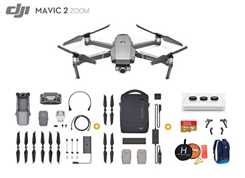 DJI Mavic 2 Zoom Drone Quadcopter with Fly More Kit, Ultimate Bundle, with 64GB SD Card, Filter Set, Landing Pad, Landing Gear and Backpack (Fly More Combo)