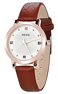 Dovoda ladies watches quartz rose gold dial brown leather strap watches for Dovoda watches