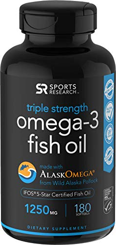 Omega-3 Wild Alaskan Fish Oil (1250mg per Capsule) with Triglyceride EPA & DHA | Heart, Brain & Joint Support | IFOS 5 Star Certified, Non-GMO & Gluten Free (180 Softgels)