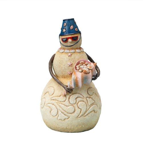 Enesco Jim Shore Heartwood Creek Beach Snowman Holding Seashell Figurine, 9-1/4 Inches -