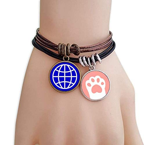 DIYthinker Earth Blue Square Warning Mark Cats Bracelet Leather Rope Wristband Couple Set