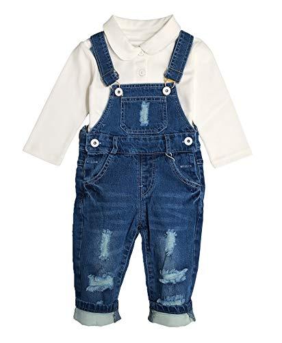 Chumhey Baby & Toddler Boys Jean Overalls Pants Set,Blue,18-24 - Bear Denim Overalls