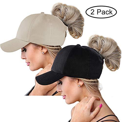 ts Cap for Women,Sun Messy High Bun Hat Ponycaps Adjustable Cotton and Mesh Trucker Baseball Cap (Black-Khaki) ()