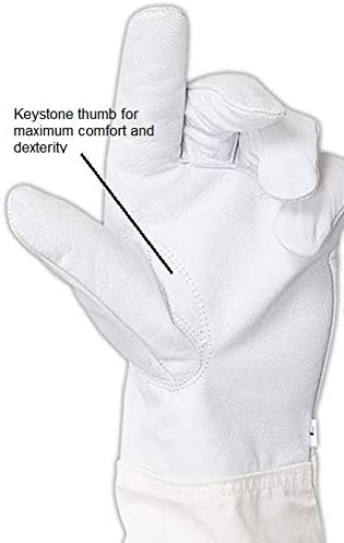 FOREST BEEKEEPING SUPPLY Goatskin Leather Beekeepers Glove with Long Canvas Sleeve /& Elastic Cuff X-Large