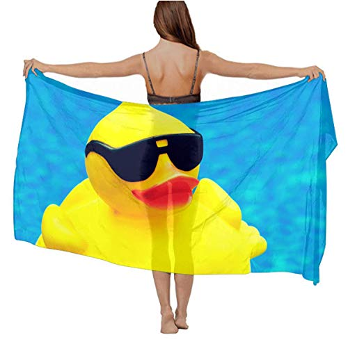 Chiffon Shawls Romantic Evening Party Swim Scarves Soft Cozy Neck Wrap Long Summer Elegant Stole Sunscreen Paisley Scarves (Funny Rubber Ducky With Sunglasses)