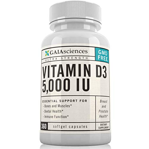 Gaia Sciences Vitamin D3 5,000 IU in Cold-Pressed Organic Olive Oil, GMO-Free, High Potency Softgels, 360 ct.
