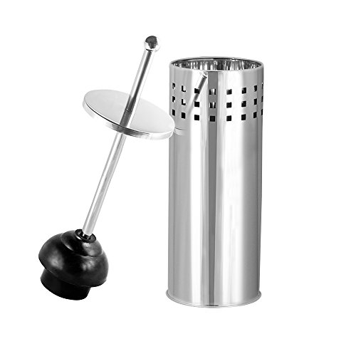 Toilet Plunger with Holder for Bathroom, Multi Drain Suitable also for Bathtubs, Quick Dry, Chrome