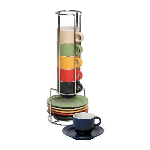 Espresso Cups Set by Gibson Coffee cup set with metal rack Stackable Coffee mug set Turkish Coffee cup set Assorted colors 13 pcs cups and saucers, Sensations