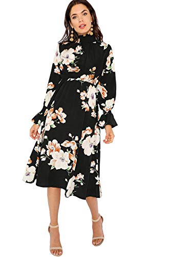 Floerns Women's Floral Print Long Sleeve Mock Neck A Line Midi Dress Black S