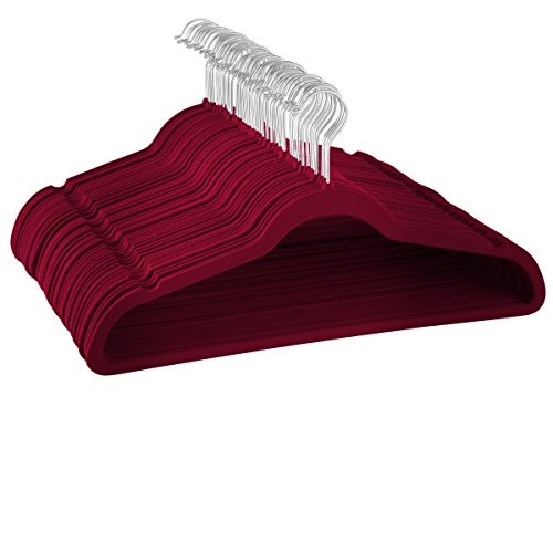 Zober Premium Quality Space Saving Luxurious Velvet Hangers Strong and Durable Hold Up To 10 Lbs - 360 Degree Chrome Swivel Hook - Ultra Thin Non Slip Suit Hangers, Royal - Kitchen Burgundy