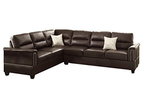 Poundex F7859 Bobkona Parrish Bonded Leather Left or Right Hand Reversible Sectional, (Espresso Leather Sectional Sofa)