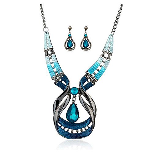 Christmas GERGER BO Christmas Water Drop Hollow Glass Necklace Earrings Two - piece Set