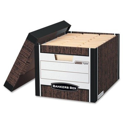 (NEW - R-Kive Max Storage Box, Letter/Legal, Locking Lid, Woodgrain, 12/Carton - 725 by Bankers Box)