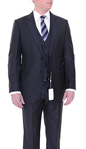 Armani Collezioni Slim Fit 40R 50 Navy Blue Tonal Striped Three Piece Wool Suit