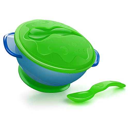 UNIH Baby Bowl and Spoon with Suction Base for Toddlers, Food Serve Bowl Self Feeding Set Snack Food Storage Container Baby Feeding Set BPA Free (Green)