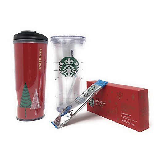 Starbucks Holiday Blend with Hot and Cold Tumblers and Starbucks Via Instant Pack Set