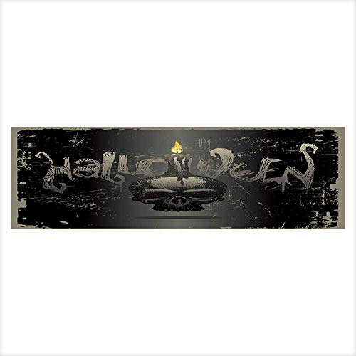 Auraisehome Background Fish Tank Decorations Halloween Vector with Hand Drawn Skull & Candle Fish Tank Backdrop Static Cling Wallpaper Sticker 29.5