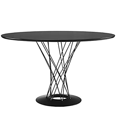 Modway Cyclone Wood Top Dining Table in Black - Mid-Century Modern Dining Table Round MDF Top Chrome-plated steel rod pedestal - kitchen-dining-room-furniture, kitchen-dining-room, kitchen-dining-room-tables - 41ftcPHTDOL. SS400  -