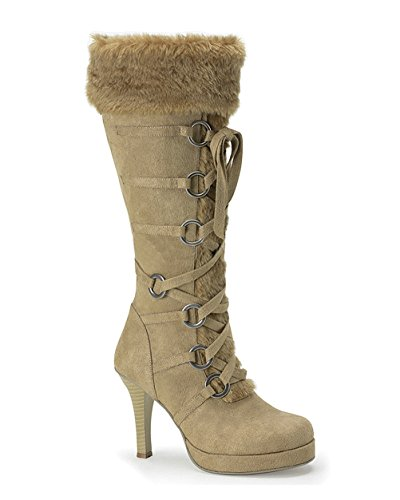 Women Tan Boots 3 3/4 Inch Sexy Knee High Fur Trim Viking Theatre Costume Size: 9