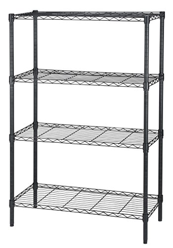 Finnhomy 4-Tier Thicken Pole Heavy Duty Wire Shelving Unit Adjustable Steel Wire Rack Shelving 4 Shelves Steel Storage Rack with Stable Leveling Feet, Black