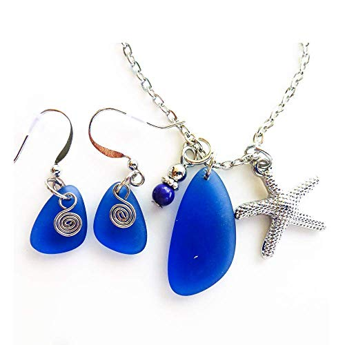 Set of blue Necklace and Earrings Small 0.5 Inch Sea Glass Drop Earrings and Matching Nautical Pendant Silver Color Starfish Necklace on 24 Inches Chain Mermaid Tears Gift