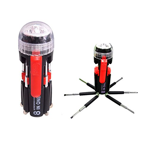 LB1 High Performance New 8 in 1 Plastic Housing 3 LED Torch Slotted Round Bit Multi Screwdriver