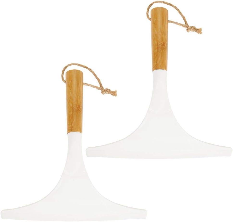 mDesign Juego de 2 limpiadores de cristales para baño – Práctico accesorio para limpiar mamparas de ducha o ventanas – Limpiavidrios de bambú con cordel para colgar – blanco/natural: Amazon.es: Hogar