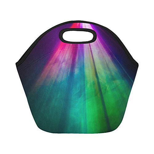 Smoke Thermal Lens - Insulated Neoprene Lunch Bag Beautiful Rainbow Color Wide Lens Projector Large Size Reusable Thermal Thick Lunch Tote Bags Lunch Boxes For Outdoor Work Office School