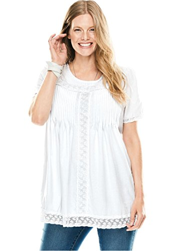 Neck Thigh Length Lace (Woman Within Women's Plus Size Lace-Trimmed Cotton Tunic White,5X)