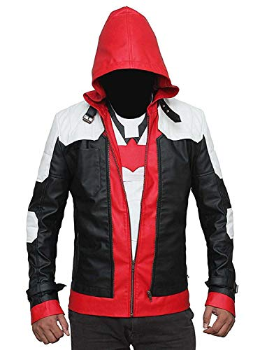 BlingSoul Batman: Arkham Knight - Leather Jacket | Hooded Red, XS