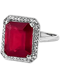 293c03f88 7.45 Carat 14K Solid White Rose Yellow Gold Emerald Cut Octagon Shape  Natural Ruby Halo Design