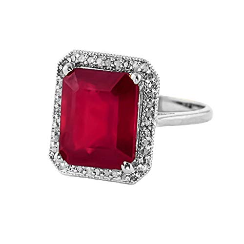 (Beautiful 7.45 Carat 18K White Gold Emerald Cut Octagon Shape Natural Ruby Halo Design with Natural Diamond Ring - Anniversary, Promise, Engagement Ring, Sizeable for her. (8.0))