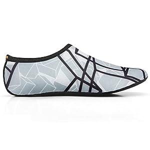Water Skin Shoes Aqua Socks Flexible Beach Swim Surf Sand Pool Yoga Aerobics Exercise Durable Sole (6.XL(US W:8~9 M:7~8), Black-gray)