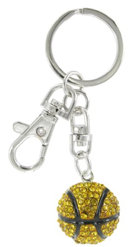- Basketball Rhinestone Key Chain with Orange Topaz Crystals and Black Enamel Stripes