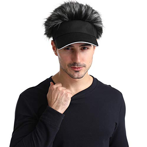 Men\'s Novelty Flair Spiked Hair Visor Sun Funny Golf Hats Fake Wig Peaked Adjustable Baseball Caps