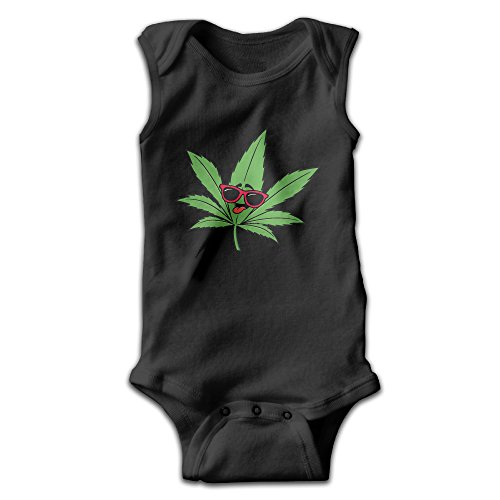 Funny Weed With Sunglass Unisex Baby 100% Cotton Sleeveless Lap Shoulder Bodysuits 6 M
