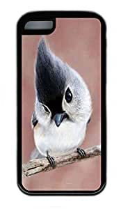 iPhone 5C Case, Personalized Protective Rubber Soft TPU Black Edge Case for iphone 5C - Baby Parrot Cover