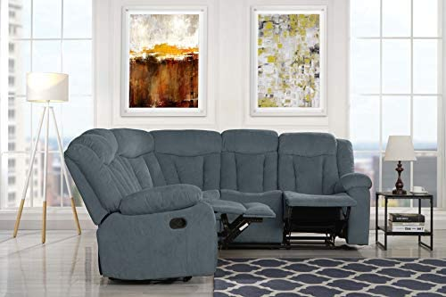 Casa Andrea Upholstered 88.1″ inch Fabric Recliner Sectional Sofa Grey