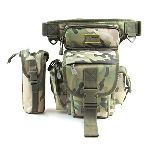 Hebetag Tactical Military Outdoor Waist Fanny Pack Leg Bag for Men Women Waterproof Oxford Multi-Purpose Motorcycle Bike Fishing Thigh Drop Belt Bum Pouch City Camouflage